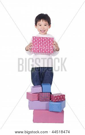Happy cute boy receive gift with white background