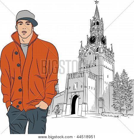 Bosquejo del vector del chico elegante en Moscú