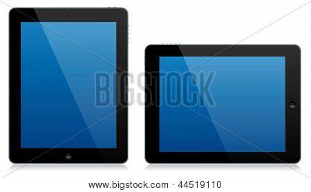 Tablet moderno computador paisagem e retrato isolado