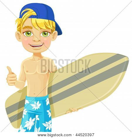 Cute teen boy with a surfboard isolated on a white background