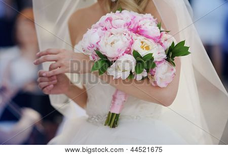 Bride With Her Peonies Bouquet