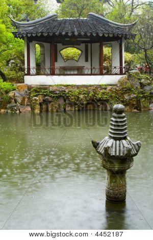 Chinese Garden In The Rain
