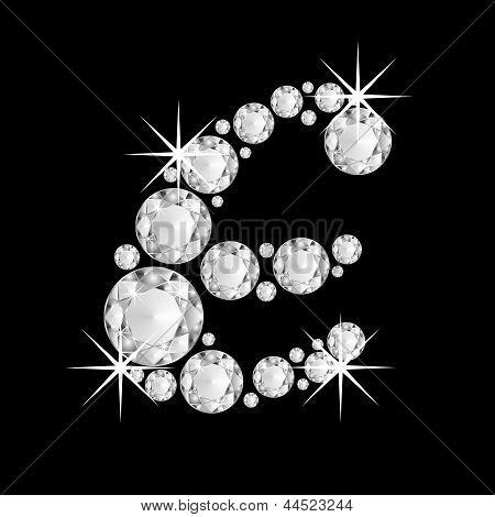 Luxury jewelry alphabet diamonds E