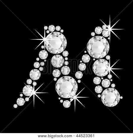 Luxury jewelry alphabet diamonds M