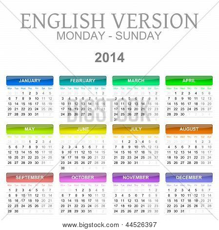 2014 Calendar English Version Monday To Sunday