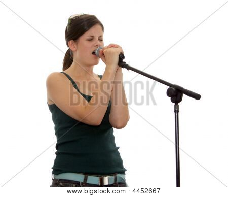 Beautiful Teen Singer On Stage