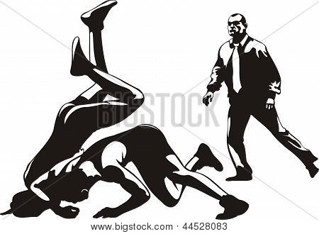 wrestling fight and referee