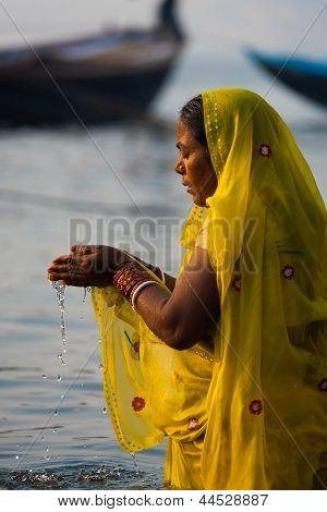 Hindu Woman Cupped Praying Ganges River Varanasi