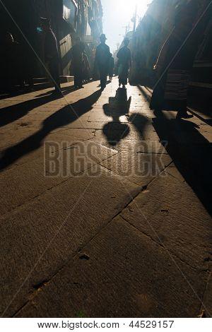 Silhouette Shadows Tibetan People Barkhor Lhasa