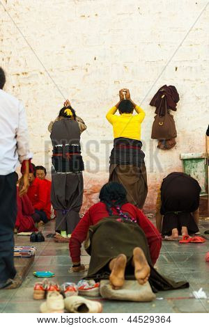 Jokhang Temple Wall Prostrating Bound Legs Women