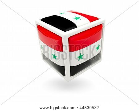Flag Of Syria. Cube Icon