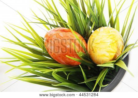 Marbled Easter Eggs On Green Grass