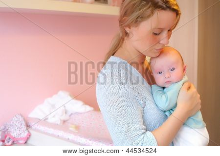 Mother And Baby In The Babyroom