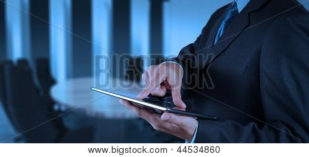 Businessman Success Working With Tablet Computer His Board Room