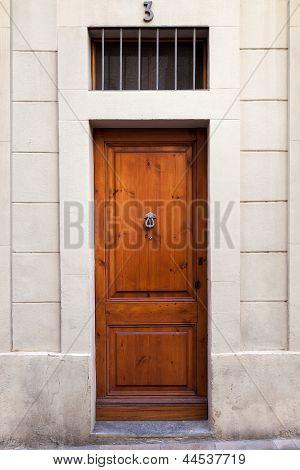 Single Wooden Door With Knocker On Sarri� Quarter (barcelona)