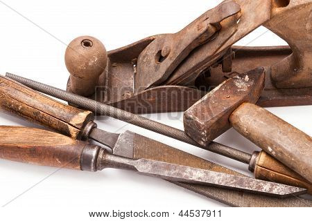 Old Metal Work Hand Tools With Rust On White
