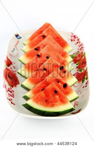 Watermelon Which Are Sliced Into On Dish.