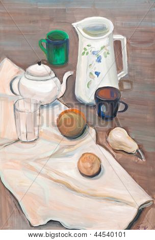 Still Life In White And Brown Tones