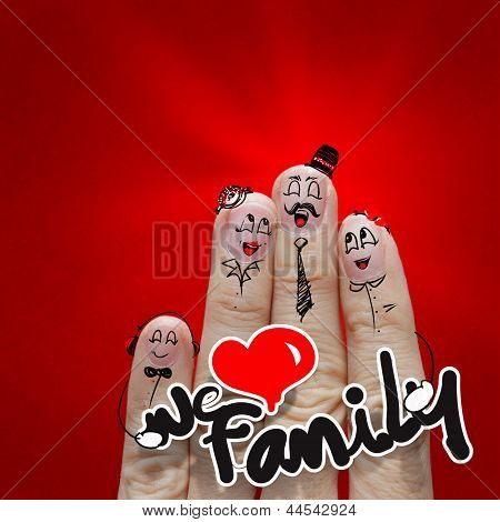 The Happy Finger Family Holding We Love Family Word