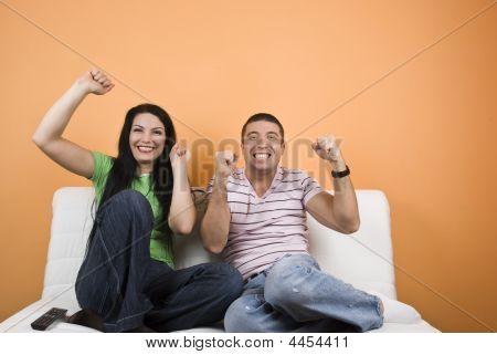 Fans Sport Team Watching Tv