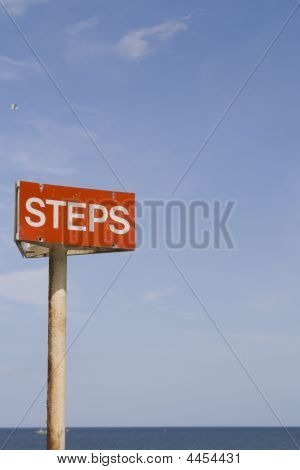 Steps Sign On Sea Front
