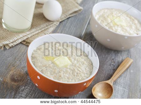 Oatmeal Porridge With Butter, Milk And Eggs