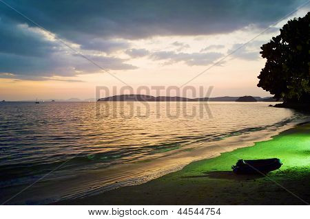Tropical Night Scene At Beach