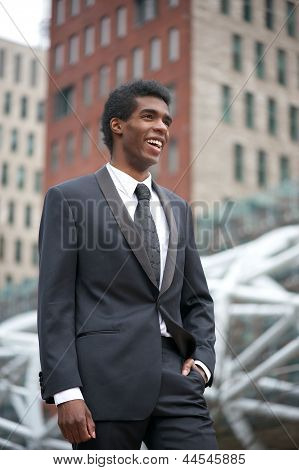 Portrait Of An African American Businesman  Smiling Outside