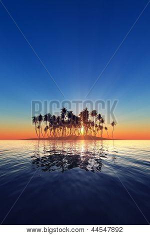 Ilhouette Of Island Sunset