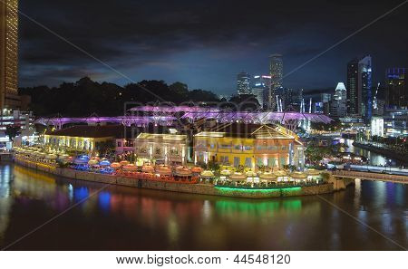 Nightlife At Clarke Quay Singapore Aerial