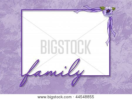 family frame with pansy