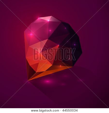 Shining dark pink vector crystal