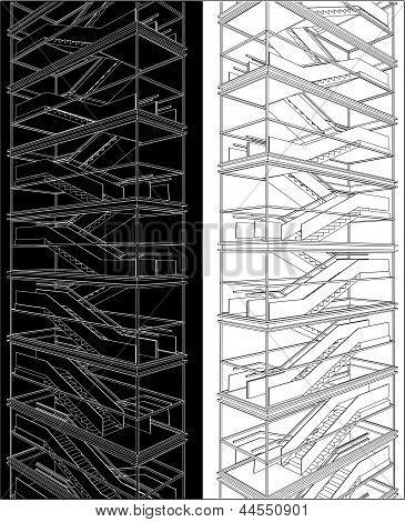 Escalera geométrica del alto edificio Vector