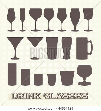 Vector Set: Drink Glass Silhouettes