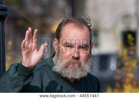 Homeless Man Waving