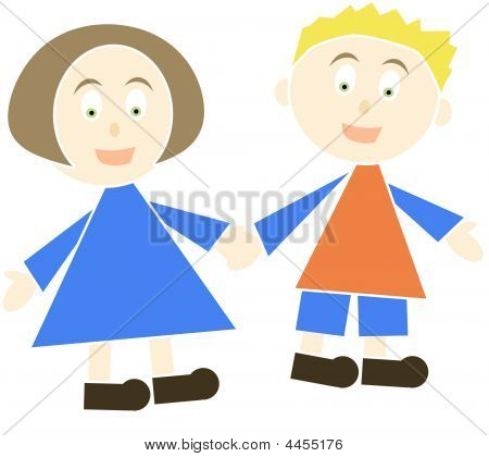Stock photo : Cartoon Of Children Holding Hands