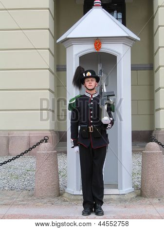 Royal Guard guarding Royal Palace in Oslo, Norway.