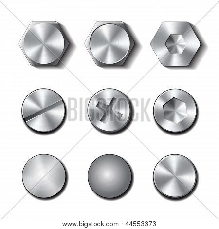 Set of screws and bolts on white background.