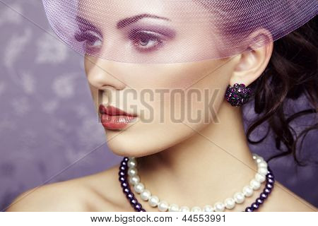 Retro Portrait Of  Beautiful Woman. Vintage Style
