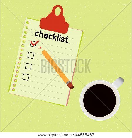 lista de verificación y la taza de café