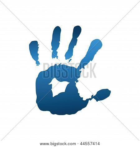 Impresión de mano azul