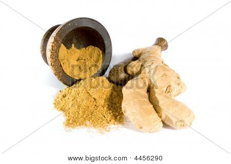Ginger Root And Powder With Mortar