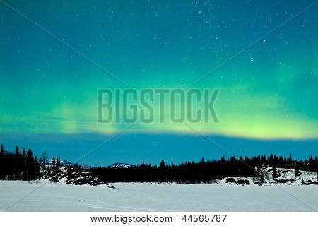 Northern Lights Aurora borealis winter landscape