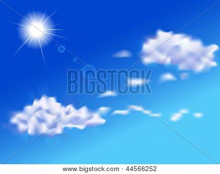Nubes y soleado día