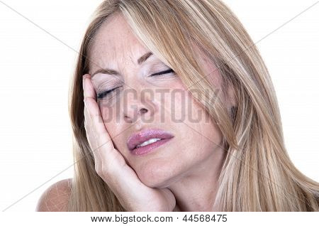Blonde Woman In Pain Is Having Toothache