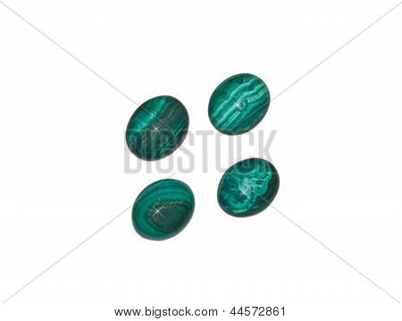 4 Malachite Stones Isolated On White