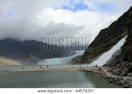 Waterfall and Glacier