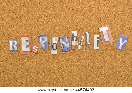Responsibility Word Made From Newspaper Letter