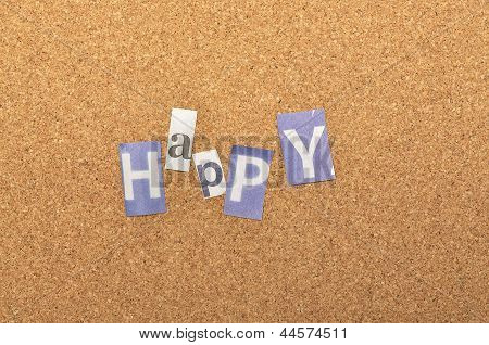 Happy Word Made From Newspaper Letter