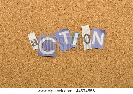 Action Word Made From Newspaper Letter